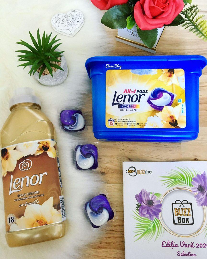 Detergent Lenor Allin1 PODS Gold Orchid și Balsamul pentru rufe Lenor Parfumelle Gold Orchid buzzstore